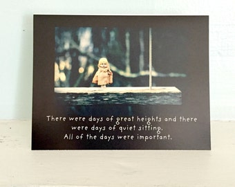 Adventures of Claudia China Doll Card All of The Days Typographic Stationary Happiness Notecard