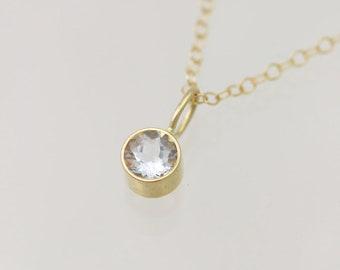Aquamarine Drop Necklace XL 14ky Gold