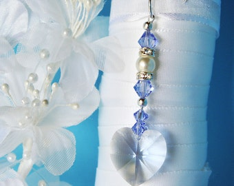 Something Blue Bouquet Charm Swarovski Crystal Sapphire Blue Wedding Accessories