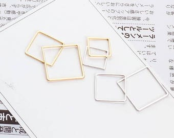 10PCS, Square Charm, Geometric Charm, Real Gold Plated, High Quality, Never Fade, Craft Supplies, DIY Finding, 15MM,20MM, 25MM