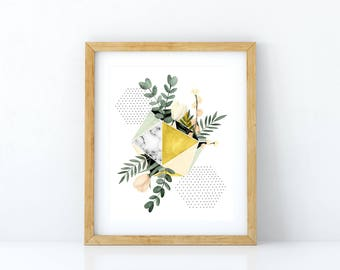 Print of an illustration of a geometrical shape with flowers and eucalyptus / botanical design / tropical / minimalist style