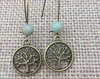 Tree of Life Earrings with Aqua Bead