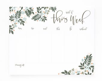 Weekly Planner Notepad | Illustrated Weekly Desk Notepad To Do List with Hand Lettered Calligraphy : Morning Blooms Weekly Planner Pad