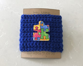 Puzzle piece cup cozy, Autism cup cozy, Autism awareness, reusable cup cozy, coffee sleeve, teacher gifts