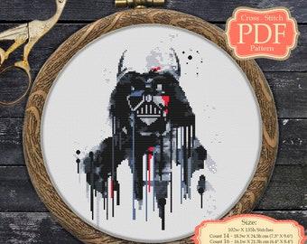 Darth Vader Watercolor - Star Wars - Cross stitch PDF Pattern - modern cross stitch - wall art