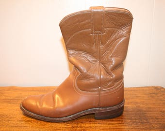 Size 6.5,Justin Roper Boots,womens boots,justin boots,boots,cowgirl boots,leather boots,boots 6.5,western boots,roper boots,riding boots