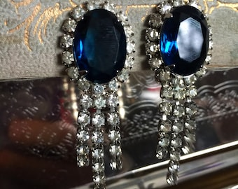 Vintage Large Oval Sapphire and Clear Rhinestone Clip on Earrings