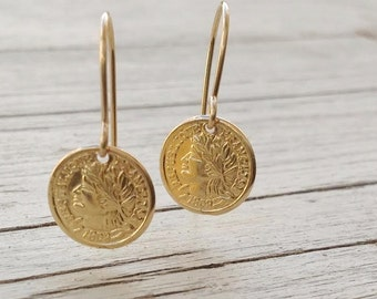 Gold earrings, dangle earrings, coin earrings, minimalist earrings, coin jewelry, simple earrings -D70