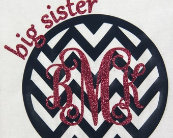 BIG Sister chevron monogram t-shirt...can also be made as Lil' Sister