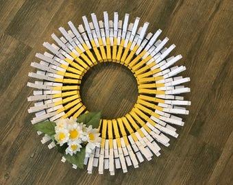 "16"" White Flower Clothespin Wreath"
