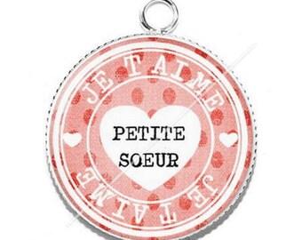 I love sister 2 resin cabochon pendant