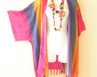 Tie Dye Stripes Plus Size  Kimono Sleeve Kaftan Cardigan Duster Jacket Beachwear Cover up - XL, 1X, 2X & 3X
