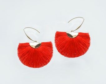 Fan Earrings Fan Tassel Earrings Red Tassel Earrings Tassels Tassel Jewelry Fan Tassels Tassel Accessory Diy Gold/CAMILLA