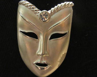 Silver Theater mask Brooch with Large Rhinestone