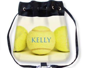 Personalized Tennis Bag-Tennis Cinch Bag-Tennis Backpack-Cinch Sack Backpack-Custom Sports Bag-Drawstring Bag-Tennis Cross Body Bag