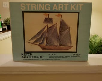 Art kit etsy ketch string art kit vintage 1970s new old stock string art kit sailboat string art do it yourself string art kit solutioingenieria Images