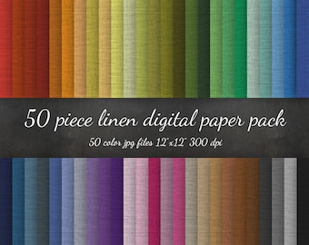 B2G1 HUGE 50 Piece Linen Digital Paper Pack - Linen Fabric Texture Scrapbook - Linen Paper Background Texture Pattern Scrapbook Linen Paper