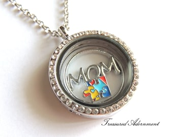 READY TO SHIP, Autism Mom Necklace, Autism Awareness Jewelry, Floating Locket Necklace, Puzzle Piece, Mother's day gift for mom, April gift
