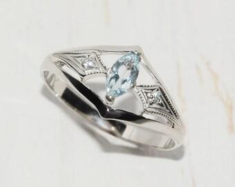 Art deco ring, Silver topaz ring, Topaz ring, Marquise ring, Blue topaz ring, Elegant ring, Silver ring for her,Antique ring, Sky topaz ring