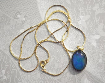 """1 Vintage 18x13mm Moodstone on 24"""" Goldplated Necklace"""