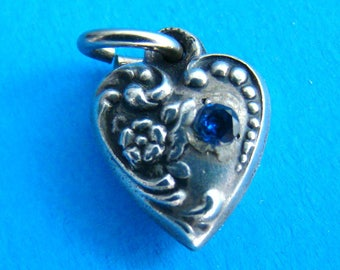 Vintage Tiny Sterling 1940's Puffy Heart Charm