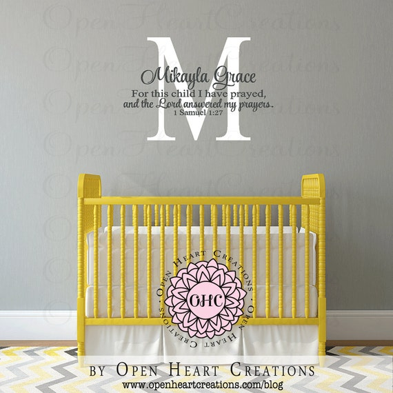 Initial Mongogram Wall Decal with Bible Verse For this Child
