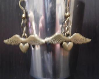 Winged Heart Bronze Earrings