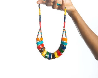 Beaded necklace, African necklace, African bead necklace, African jewelry, Bead necklace, Bold African jewelry, Bold African necklace, Gifts