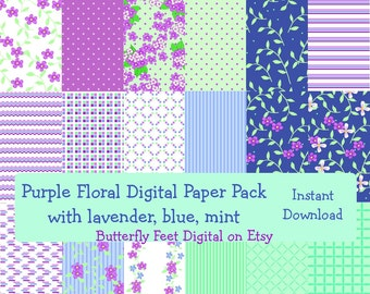 Floral Digital Paper Pack, Lavender, Mint, Violet, Blue, 18 Printable Designs, Scrapbook Paper, Instant Download