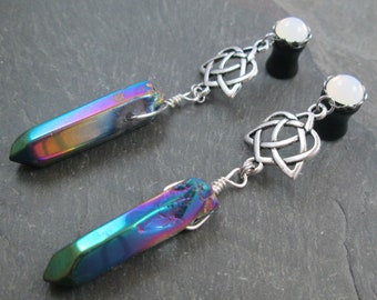 Dangle Plugs - 10g - 8g - 6g - 4g - 2g - 0g - Plug Earrings - Crystal Point - Rainbow Jewelry - Rainbow Plugs - Celtic Heart Knot