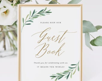 Guest Book Sign Template, Garden wedding decor, Greenery Wedding Signs, Printable Guest Book Sign | Edit in Word or Pages