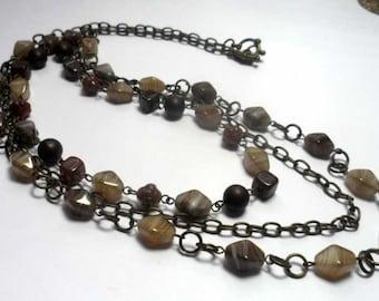 Necklaces. Beaded Jewelry Handmade Czech glass. Brown,gray, camel, beige.