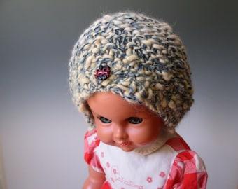 100&  percent  ALPACA  BLUE  off white BONNET   Hat child   ages 3 - 8/9    Aqua Hand spun  Hand knit  train button
