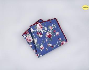 Silver Blue Floral Pocket Square, Silver Blue Floral Handkerchief, Vintage Pocket Square, Wedding Pocket Square, Blue Pocket Square
