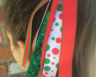 Christmas Ponytail Streamer, Hair Streamer, Ribbon Streamer, Ponytail Holder, Christmas Accessory, Christmas Streamer, Handmade Accessories