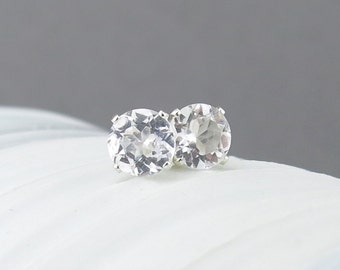 White Topaz Earrings Small Silver Earrings 6mm White Topaz Stud Earrings Gemstone Post Earrings Silver Stud Earrings April Birthstone