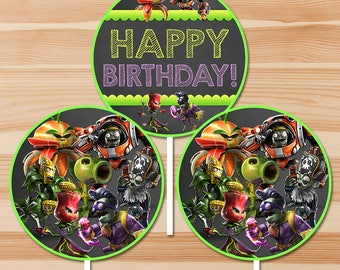 Plants Vs Zombies Garden Warfare Happy Birthday Centerpiece - Chalkboard - PVZ - PVZ Birthday Party Printable Favor