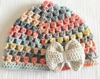 City Beat Miss Priss Hat with Linen bow crochet hat for women adult size hat crochet cloche mother's Day gift