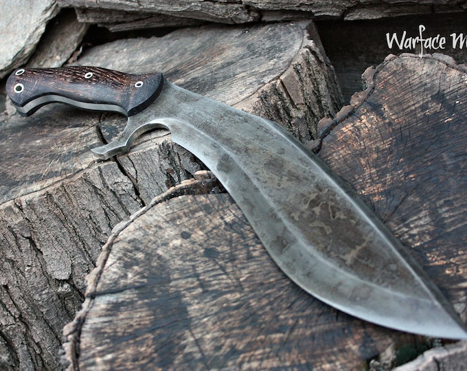 "Handcrafted ""Warface mod"" survival, hunting or tactical kukri and heavy chopper with full tang"
