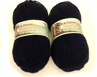 Patons  Canadiana Worsted Yarn Navy  2 Skeins