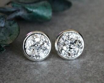 Silver Druzy Earrings, Silver Stud Earrings, Silver Earrings, Silver Post Earrings, Silver Bridesmaid Earring, Silver Druzy Studs, Girl Gift