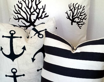 Navy Coral Anchor Stripes Pillow Choice of Set of 3/Navy White Beach Nautical  Pillow Covers 26 x 26/18 x 18/16x 16 or individual sizes