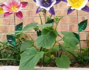 Metal Flower Garden Stake,  Columbine Flower Garden Art,  Metal Garden Decor,  Yard Decoration