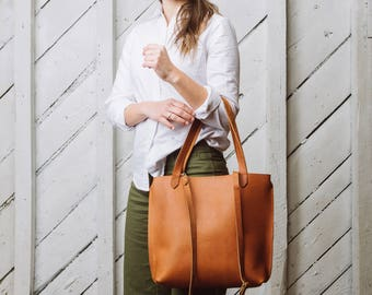 Medium Leather Tote, Leather Shopper, Tan Leather Cow skin: The Maya Tote by Awl Snap