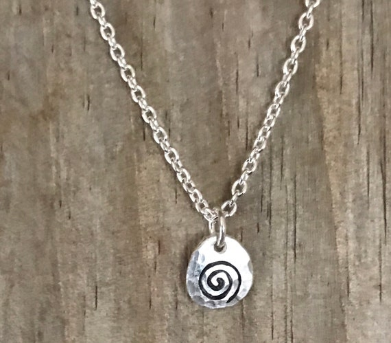 "Tiny swirl necklace, silver stamped circle small disc,  recycled fine silver 16"" sterling silver filled chain"