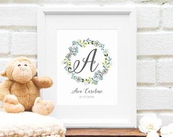 Custom Baby Monogram, Blue Nursery Art, Personalized Floral Nursery Art, Floral Wreath Monogram, Newborn Baby Shower Gift - Art Print