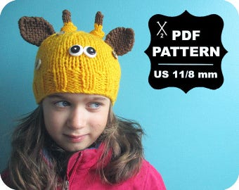 English-French Two Needle KNITTING PATTERN / Digital Download / #54 / Knitted Giraffe Hat / 6-16M to 5 years-Adult / US11 / 8mm