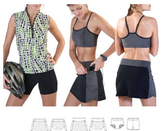 Jalie 2796 - Multi-Sport Skort With Attached Hot Pants or Compression Shorts / 27 Sizes / Child & Adult