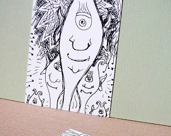 SALE - 5 dollars, free shipping! Fmink, Glowde, Schmaanen, Quink, and Nexle - ACEO original art card