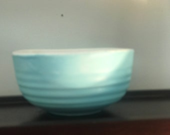 Hand Painted Sea Green and White Glazed Pottery Bowl